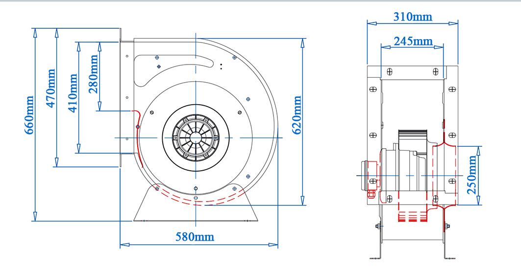 فن سانتریفیوژ 40سانت یکطرفه بکوارد دمنده BEB-40-14Z4S