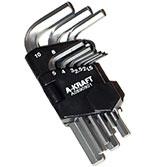 آچار آلن درآویز پلاستیکی 9عددی کوتاه A-KRAFT-AA085H109 1.5*10mm