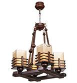 لوستر چوبی مدل منچستر چهار شعله سربالا دارکار کد 273