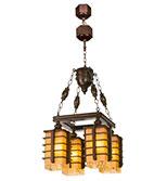 لوستر چوبی مدل منچستر چهارشعله دارکار کد 270