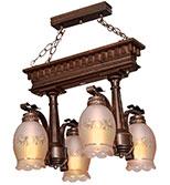 لوستر چوبی مدل تخت جمشید چهارشعله دارکار کد 218