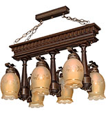 لوستر چوبی مدل تخت جمشید شش شعله دارکار کد 220